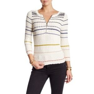 Free People Striped Rossi Rib Pullover S